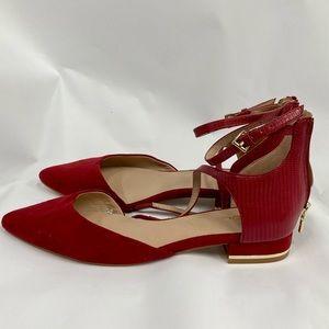 ALDO Red flats with back heel gold zipper